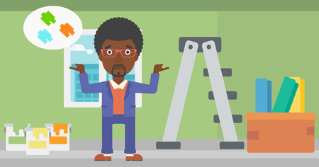 choosing: An african-american man choosing color for a room on a background of room with step-ladder, paint cans and box with wallpapers vector flat design illustration. Horizontal layout.