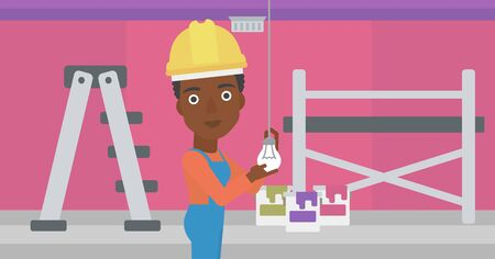 paint cans: An african-american female worker twisting a light bulb on a background of room with paint cans and ladder vector flat design illustration isolated on white background. Horizontal layout.