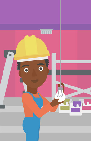 screwing: An african-american female worker twisting a light bulb on a background of room with paint cans and ladder vector flat design illustration isolated on white background. Vertical layout.