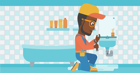 An african-american man sitting in a bathroom and repairing a sink with a spanner vector flat design illustration. Horizontal layout. Illustration