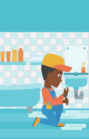 An african-american woman sitting in a bathroom and repairing a sink with a spanner vector flat design illustration. Vertical layout. Illustration