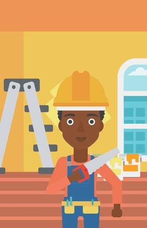 An african-american female worker holding a saw in hand on a background of room with paint cans and ladder vector flat design illustration. Vertical layout. Illustration