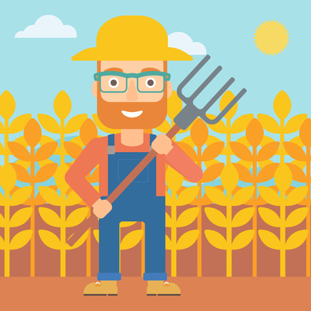 A hipster man with the beard standing with a pitchfork on the background of wheat field vector flat design illustration. Square layout. Stock Illustratie