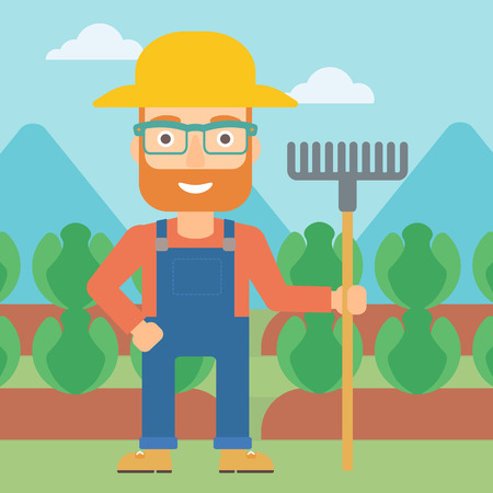 agrarian: A hipster man with the beard standing with a rake on the background of cabbage field vector flat design illustration. Square layout.