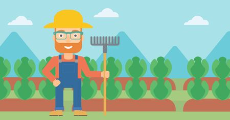 A hipster man with the beard standing with a rake on the background of cabbage field vector flat design illustration. Horizontal layout. Çizim