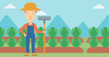 agrarian: A woman standing with a rake on the background of cabbage field vector flat design illustration. Horizontal layout. Illustration