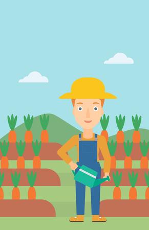 Une femme tenant un abreuvoir sur le fond des carottes qui poussent sur l'illustration de la conception plate des vecteurs de champ. Disposition verticale. Banque d'images - 55902121
