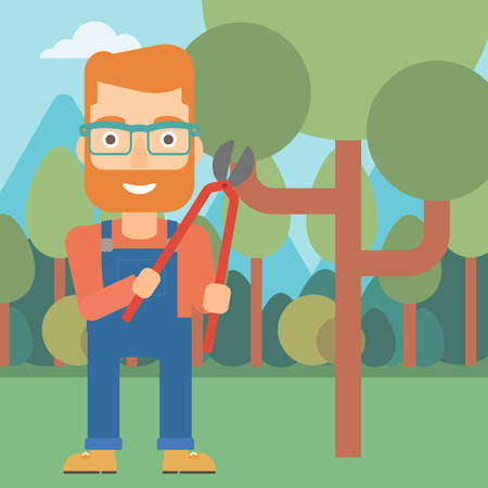 pruner: A hipster man with the beard holding a pruner on a background of garden with trees vector flat design illustration. Square layout.