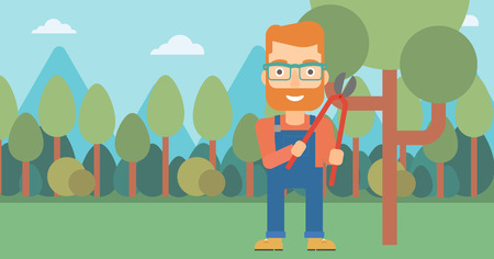 pruner: A hipster man with the beard holding a pruner on a background of garden with trees vector flat design illustration. Horizontal layout.