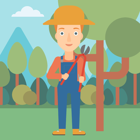 pruner: A woman holding a pruner on a background of garden with trees vector flat design illustration. Square layout.