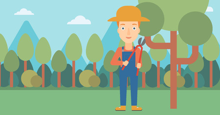 branch cut: A woman holding a pruner on a background of garden with trees vector flat design illustration. Horizontal layout.