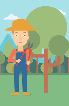 pruner: A woman holding a pruner on a background of garden with trees vector flat design illustration. Vertical layout.