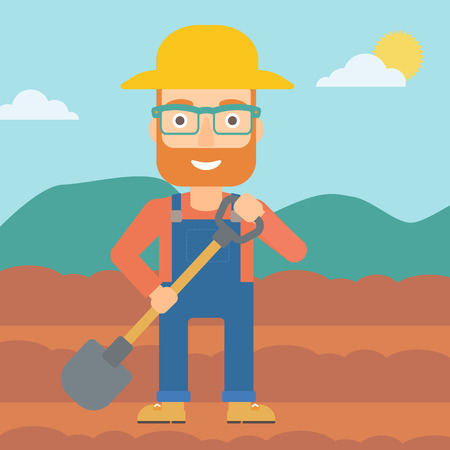 digging: A hipster man with shovel on the background of plowed agricultural field vector flat design illustration. Square layout. Illustration