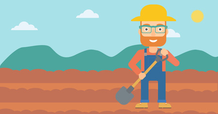 digger: A hipster man with shovel on the background of plowed agricultural field vector flat design illustration. Horizontal layout.