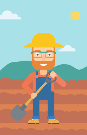 digging: A hipster man with shovel on the background of plowed agricultural field vector flat design illustration. Vertical layout. Illustration
