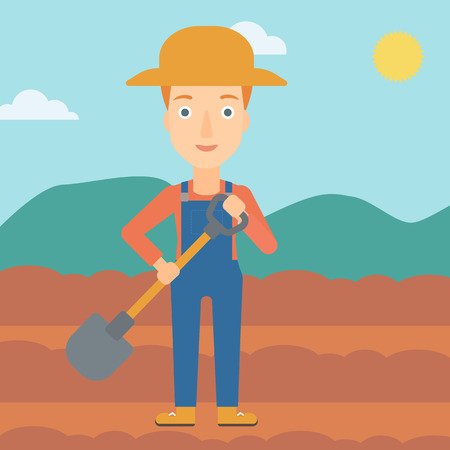 plow: A woman with shovel on the background of plowed agricultural field vector flat design illustration. Square layout. Illustration