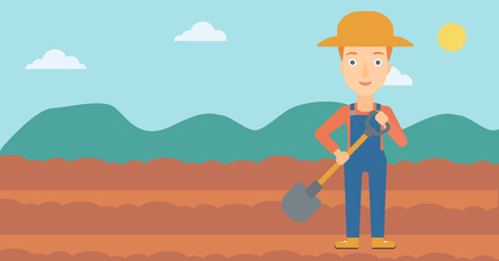 plow: A woman with shovel on the background of plowed agricultural field vector flat design illustration. Horizontal layout.