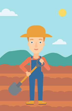 plow: A woman with shovel on the background of plowed agricultural field vector flat design illustration. Vertical layout.
