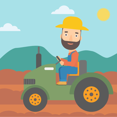fieldwork: A hipster man with the beard driving a tractor on the background of plowed agricultural field vector flat design illustration. Square layout. Illustration