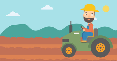 A hipster man with the beard driving a tractor on the background of plowed agricultural field vector flat design illustration. Horizontal layout.