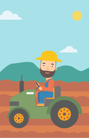 fieldwork: A hipster man with the beard driving a tractor on the background of plowed agricultural field vector flat design illustration. Vertical layout. Illustration