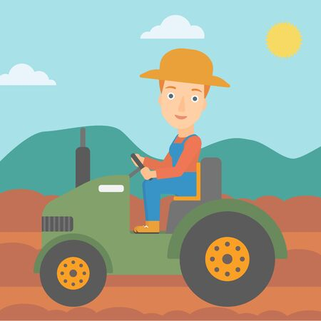 cultivator: A woman driving a tractor on the background of plowed agricultural field vector flat design illustration. Square layout.