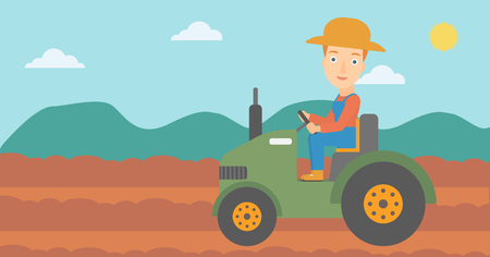 fieldwork: A woman driving a tractor on the background of plowed agricultural field vector flat design illustration. Horizontal layout.