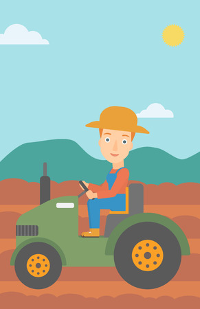 A woman driving a tractor on the background of plowed agricultural field vector flat design illustration. Vertical layout. Illustration