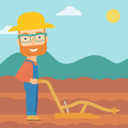 rancher: A hipster man with the beard using a plough on the background of plowed agricultural field vector flat design illustration. Square layout.