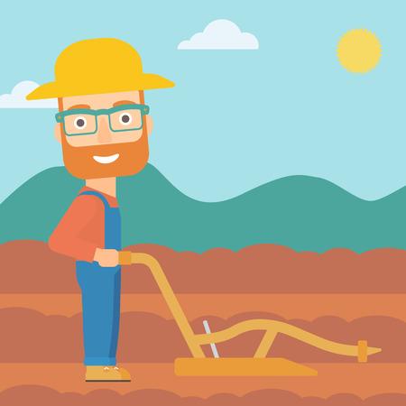 Un homme hipster à la barbe à l'aide d'une charrue sur le fond de vecteur champ agricole labouré design plat illustration. layout Square. Banque d'images - 55935234