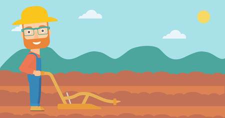 rancher: A hipster man with the beard using a plough on the background of plowed agricultural field vector flat design illustration. Horizontal layout.