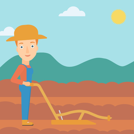 plough: A woman using a plough on the background of plowed agricultural field vector flat design illustration. Square layout.