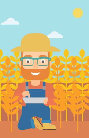 checking: A hipster man with the beard checking plants on a field and working on a digital tablet vector flat design illustration. Vertical layout.