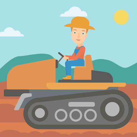 cultivator: A woman driving a tractor on a background of plowed agricultural field vector flat design illustration. Square layout. Illustration