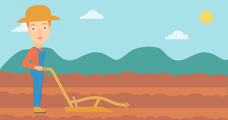 plowed: A woman using a plough on the background of plowed agricultural field vector flat design illustration. Horizontal layout. Illustration
