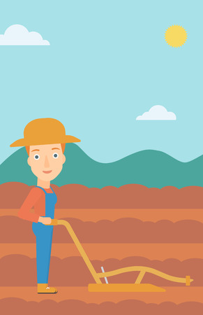 furrow: A woman using a plough on the background of plowed agricultural field vector flat design illustration. Vertical layout.