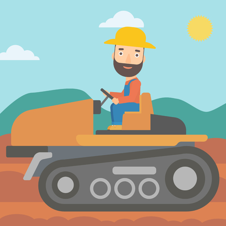 cultivator: A hipster man with the beard driving a tractor on a background of plowed agricultural field vector flat design illustration. Square layout.