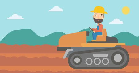 fieldwork: A hipster man with the beard driving a tractor on a background of plowed agricultural field vector flat design illustration. Horizontal layout.