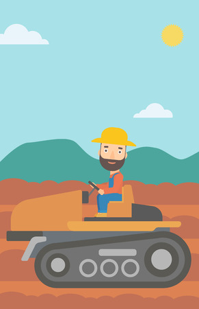 plowed: A hipster man with the beard driving a tractor on a background of plowed agricultural field vector flat design illustration. Vertical layout. Illustration