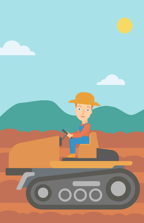 fieldwork: A woman driving a tractor on a background of plowed agricultural field vector flat design illustration. Vertical layout. Illustration