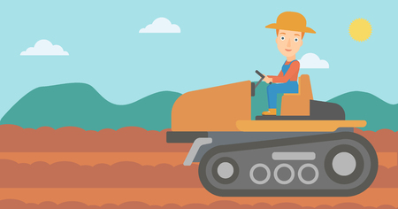 fieldwork: A woman driving a tractor on a background of plowed agricultural field vector flat design illustration. Horizontal layout.