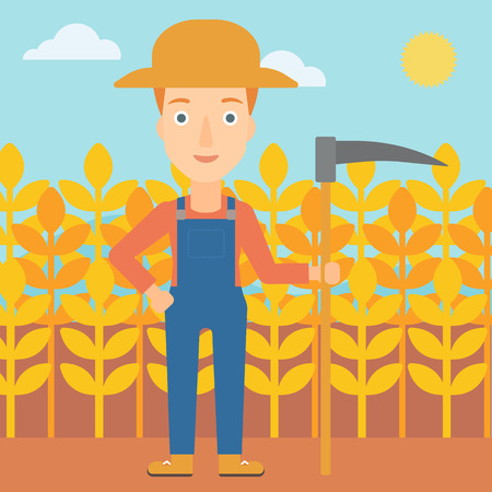 A woman with a scythe on the background of wheat field vector flat design illustration. Square layout.