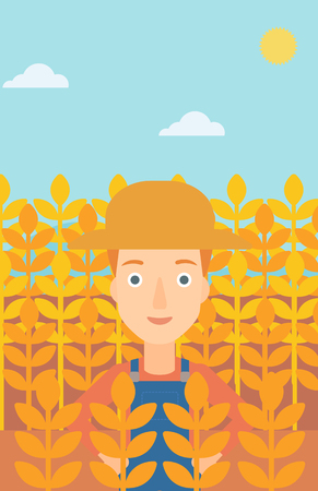 laborer: A woman standing in a wheat field vector flat design illustration. Vertical layout.