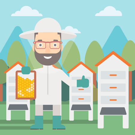 A hipster man with the beard wearing protective suit holding a framework in hand and showing thumb up on the background of apiary vector flat design illustration. Square layout.