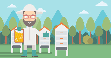 A hipster man with the beard wearing protective suit holding a framework in hand and showing thumb up on the background of apiary vector flat design illustration. Horizontal layout.