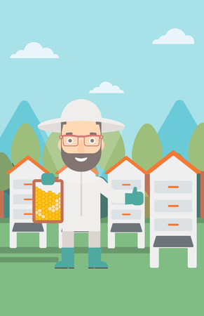 A hipster man with the beard wearing protective suit holding a framework in hand and showing thumb up on the background of apiary vector flat design illustration. Vertical layout. Ilustração