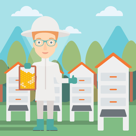 apiculture: A woman wearing protective suit holding a framework in hand and showing thumb up on the background of apiary vector flat design illustration. Square layout. Illustration