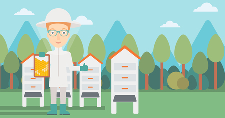 A woman wearing protective suit holding a framework in hand and showing thumb up on the background of apiary vector flat design illustration. Horizontal layout.