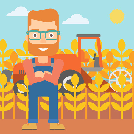 harvesting: A hipster man with the beard standing on the background of combine harvesting wheat vector flat design illustration. Square layout.