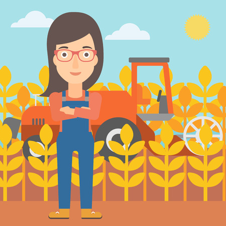 cultivator: A woman standing on the background of combine harvesting wheat vector flat design illustration. Square layout. Illustration